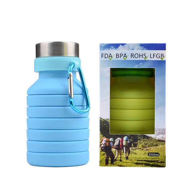 Collapsible Silicone Water Bottle 550ml