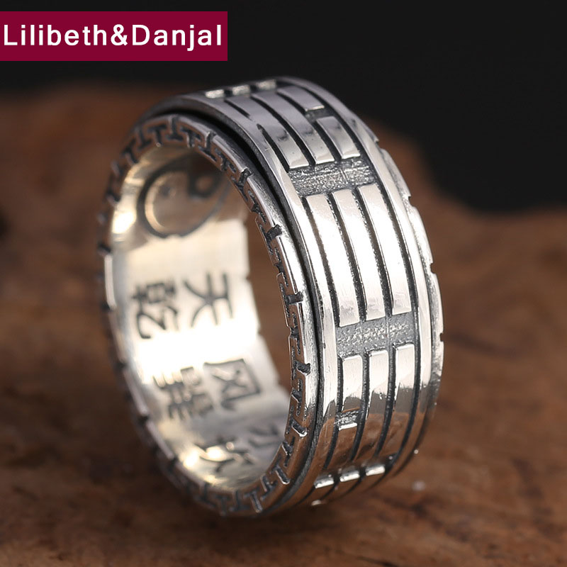 100% Real 925 Sterling Silver Ring TaiChi Engraving Wide Men Jewelry Fine Vintage Scripture Big Fashion Rotatable GR99