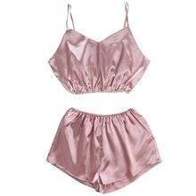 KLV Womens Sleeveless Crop Top Shorts Set Elastic Beach Suit Clubwear Sleepwear Sexy Sleep