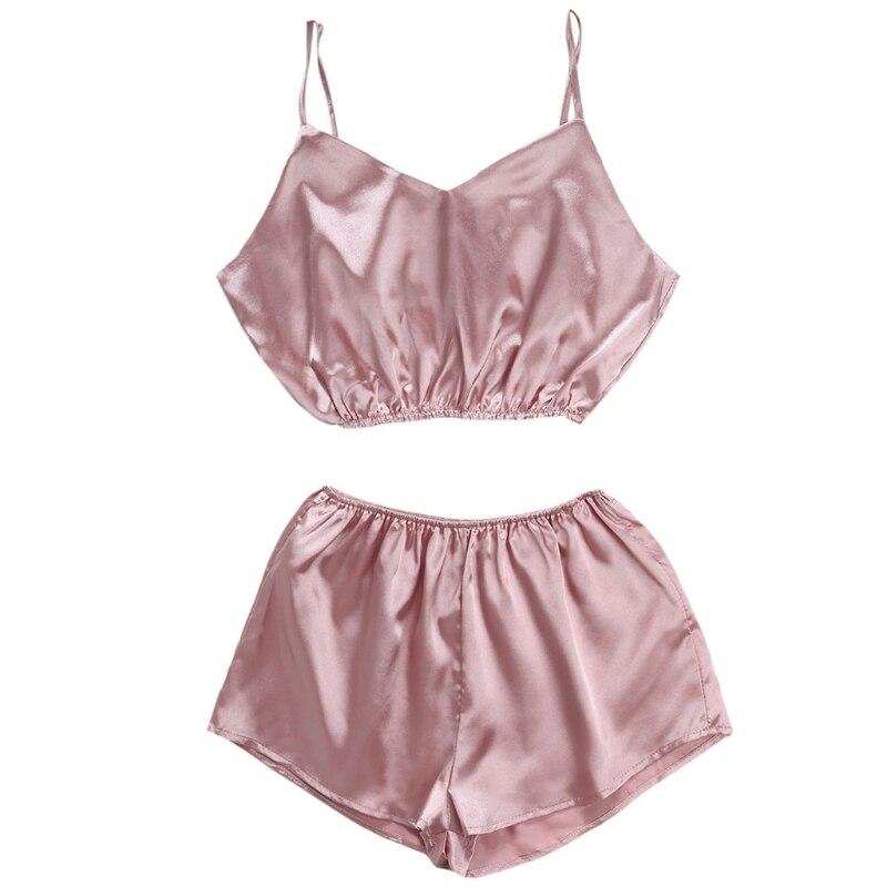 KLV Womens Sleeveless Crop Top Shorts   Set   Elastic Beach Suit Clubwear Sleepwear Sexy Sleep Lounge   Pajama     Sets   New