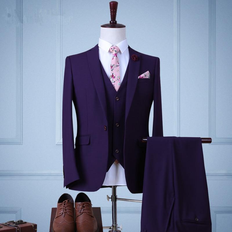 18 Styles Suits Mens Spring and Autumn Slim Fit Jacket+Pants+Vest+Shirt+Tie+Belt+Bow 8 Piece Sets Male Wedding Suits Grey Blazer