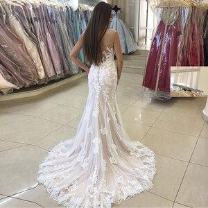 Image 2 - Elegant Mermaid Wedding Dress With Detachable Train Appliques Tulle Skirt 2019 New Vestido De Novia Sweep Train Bridal Dress