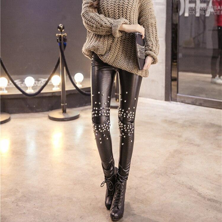 Plus velvet Leather leggings women Sequins tide punk leather pants leggings leggins Rivets punk hip slim fitness clothing women 1
