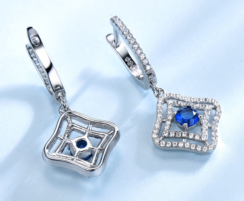 Honyy Sapphire 925 sterling silver jewelry set for women S023S-1 (7)
