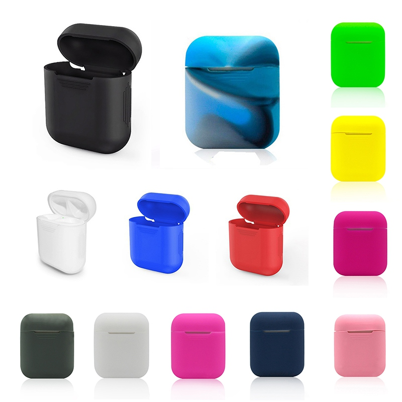 Silicone Skin Case Proof Protector Cover Pouch Anti Lost True Wireless Earphone Accessories Solid Color Bag For Apple Airpods