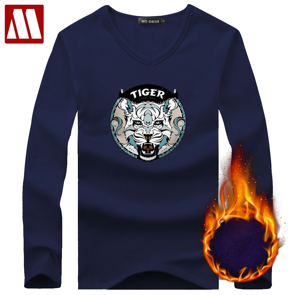 a9ddfcd7 2019 Winter Mens Thermal Undershirt Long Sleeve Man velvet tshirt King size  Male Fashion White Tiger Printed Hombre Undershirts