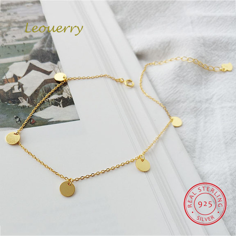 Leouerry 925 Stering Silver Simple Gold Plated Wafer Tassel Summer Beach Anklet for Women Girl Fashion Foot Bracelet Jewelry