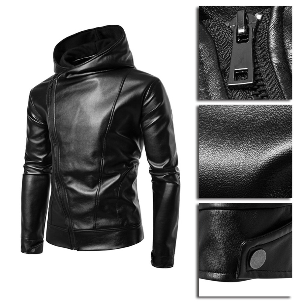 ccc50a9c8 New Punk Style Black Leather Jacket Hoodie Zipper Type Men Casual ...