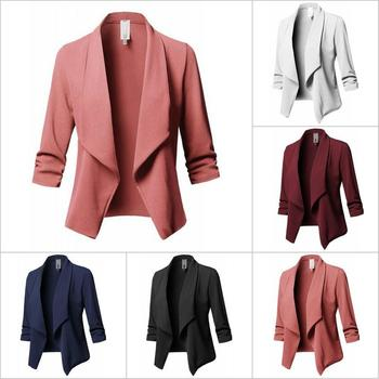 2018 New OL Ladies Slim Fit Long Sleeve Ruffle Solid Color All-match Small Suit Top Coat Feminino Blazer Escudo Large Size S-5XL
