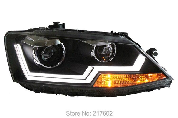 for VW for Volkswagen Sagitar / Jetta MK6 head lamps 2012-2013 V2 Black housing low beam bi-xenon lens  LED strip light LD leetka oil filter for vw volkswagen jetta black