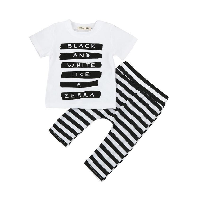 2017 Baby Newborn Boys Letter Tops T-shirt Stripe Pants 2Pcs Set Outfits Clothes D50