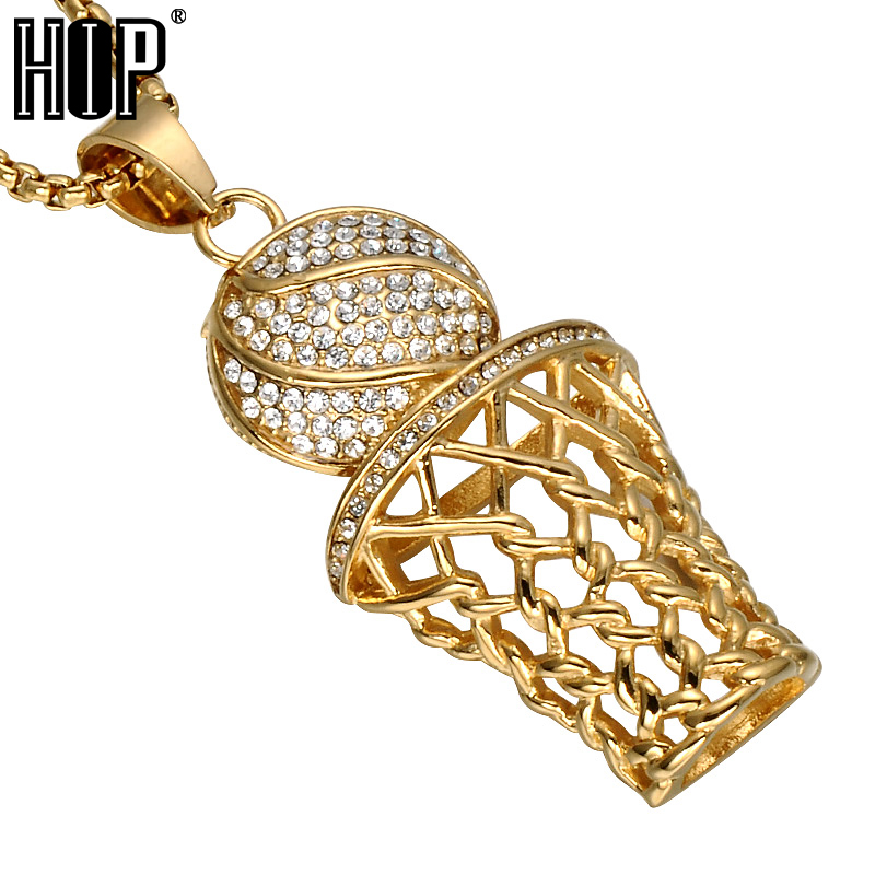 HIP Hop Bling Iced Out Gold Full Rhinestone Basketball Pendants Necklaces 316L Stainless Steel Sports Necklace for Men Jewelry