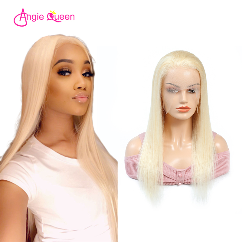 ANGIE QUEEN Blond Lace Front Wig 613 Lace Front Wig Full Lace Human Hair Wigs Indian Human Hair Straight Lace Front Wig(China)