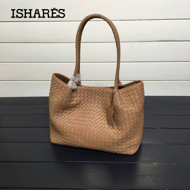 ISHARES casual Genuine Leather Women Handbag Patchwork Sheepskin Woven Bag Shoulder Bags Lambskin Composite Bags Totes IS8833