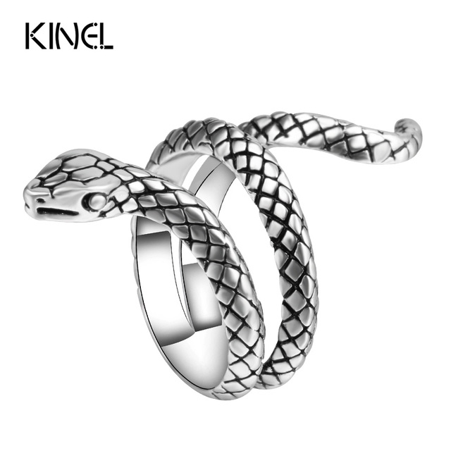 Wholesale Fashion Snake Rings For Women Color Silver Heavy Metals Punk Rock Ring Vintage Animal Jewelry 1