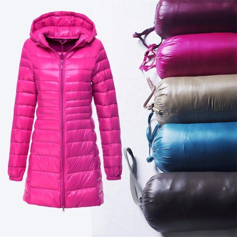New Women Casual Ultra Light Downs Jacket Autumn Winter Warm White Duck Down Jackets Long Hooded Lightweight   Parkas   Coat 6XL 7XL