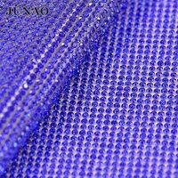 Ss8 קובלט צבע פסי גביש Strass זכוכית ריינסטון חרוז לקצץ דקורטיבי רשת יהלומי אפליקצית בגליל לשמלת כלה