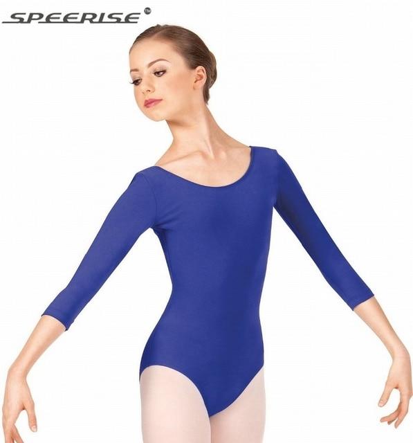 Speerise Ladies Black Workout Dance Leotards Womens 3   4 Sleeve Lycra  Spandex Adult Ballet Leotard Dance Bodysuit 828848fff