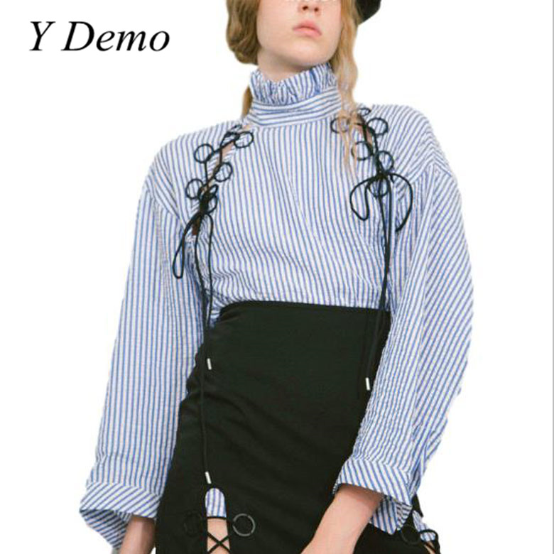 Y Demo Elegant Stripe Womens Shirt Hollow Out Ruffled Neck Female Blouse Korean Outfitting