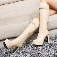 Women's Spring/Autumn Solid Knee high Boots Square High Heel Boots Fashion Round toe Boots Women Shoes Big size 32-43