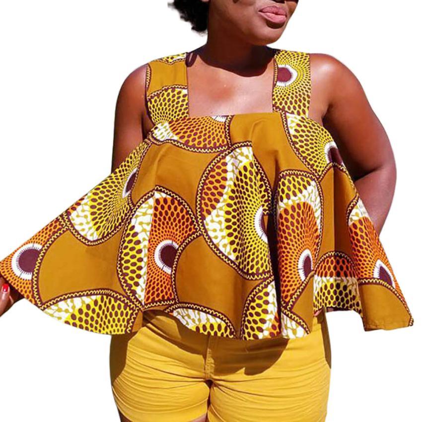 Summer Cactus African Print Sleevele Tank Tops Womens Sleeveless Fashion Woman Tops Ladies 2018Loose Tee Tank Female Femme Top