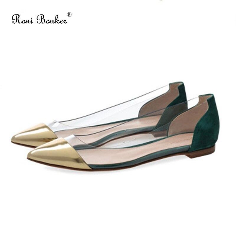 Métal Bouker Pointu Roni Peu D'hiver Pu Chaussures Femme Bout Noir Transparent Profonde chocolat Plat En Femmes Mode vert Dames Plus x1Iqqf4pw