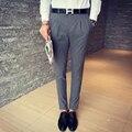 Traje Pantalón pantalón Boda Formal Gris Azul Para Hombre Pantalones De Vestir Pantalones De Oficina hombres Slim Fit Negocio Pantalones de Pinzas de mariage