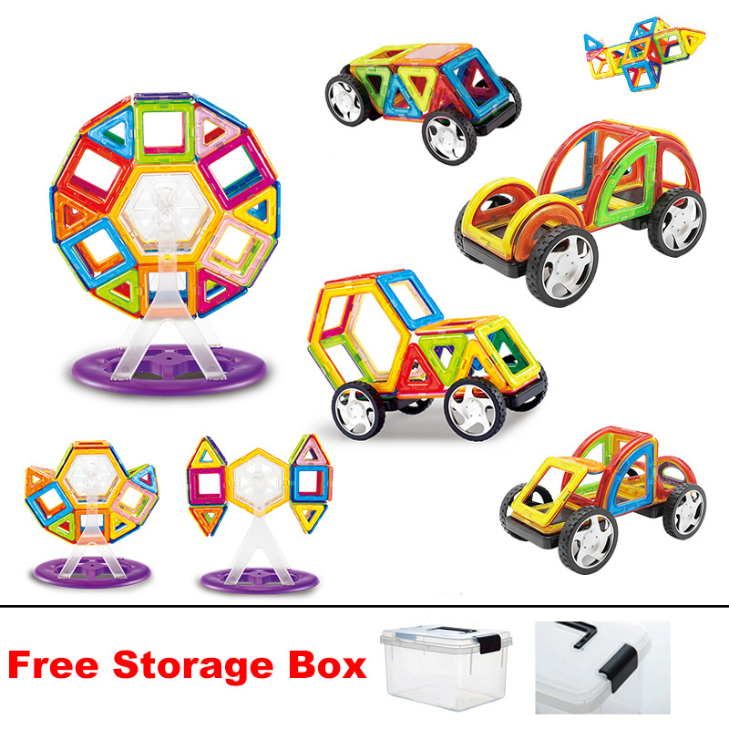 28pcs 60pcs Standard Size Magnetic Blocks 3D Designed construction Model Building Bricks Educational Toys with Storage box New