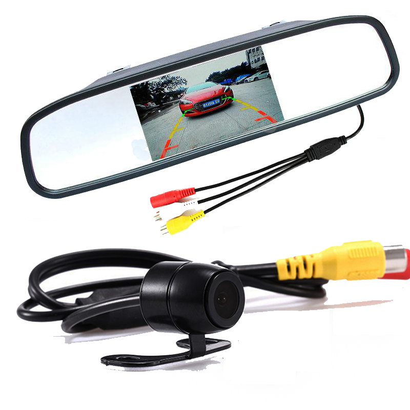 Auto Parktronic System 4.3 Inch TFT LCD Car Rearview Mirror Monitor with HD Car Rear View Backup Reverse Camera Parking Assist
