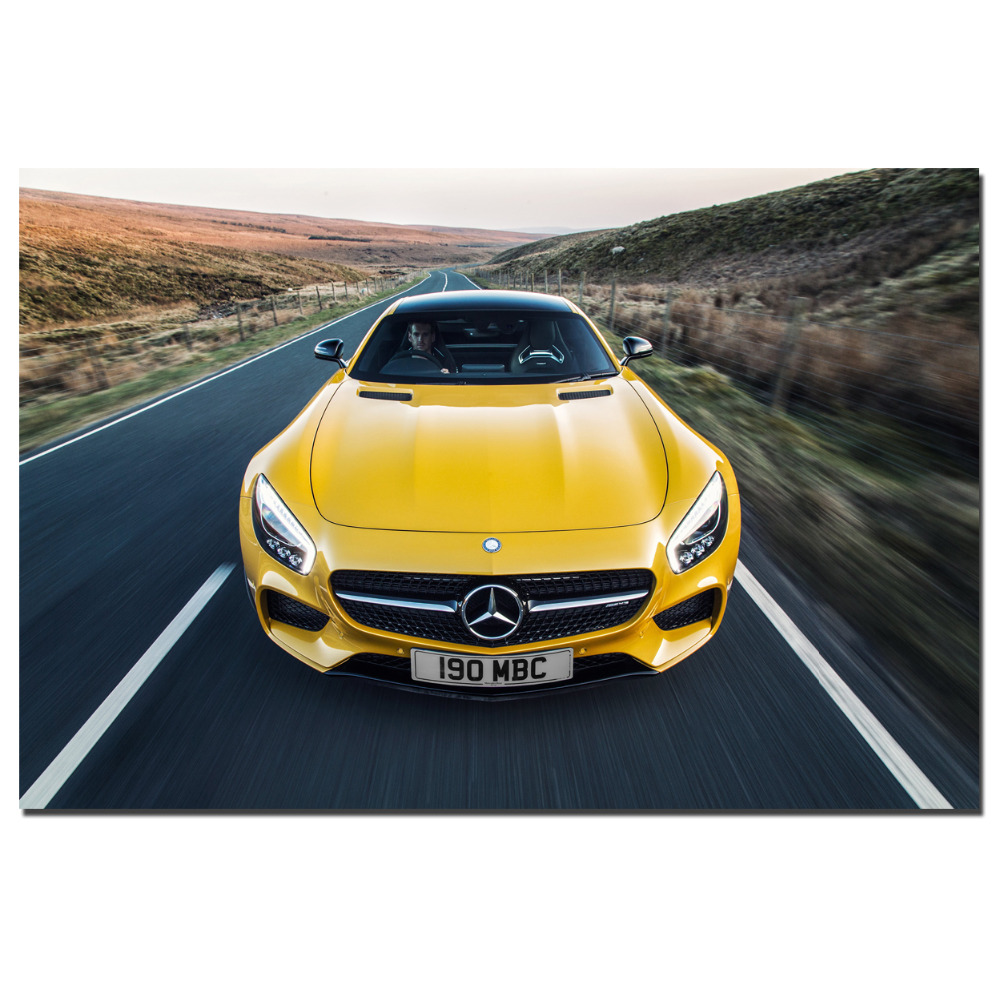 C190 AMG GT Supercar yellow Auto Poster Canvas Print for Home Decor ...