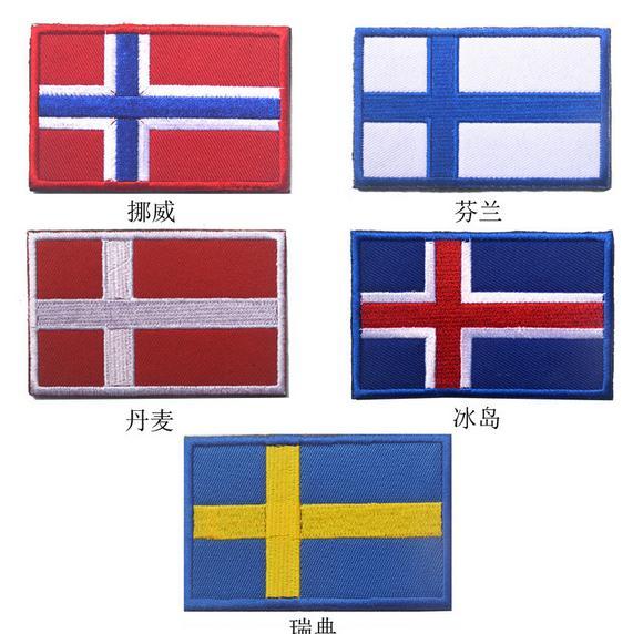 nordic badge zweden/noorwegen/denma/finlan/ijsland vlag patch kruis