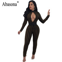 Abasona Evening Party Jumpsuits Autumn Long Sleeve Sparkling Women Overalls Sexy Club Cut Out Striped Rompers