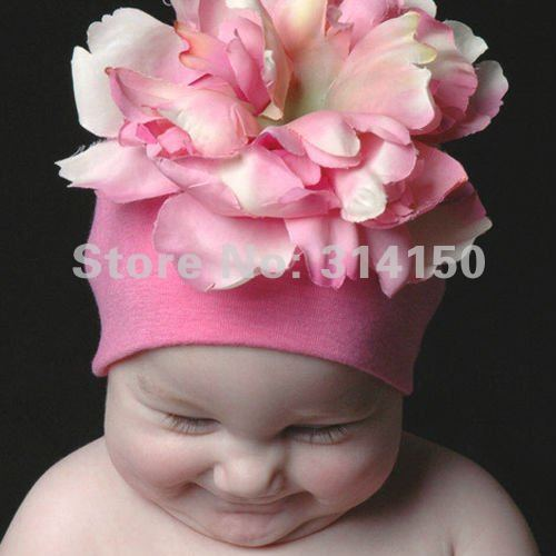 Lovely Pink caps with big flowers infant girls caps baby beanies infant knitting wool caps 1pcs/lot