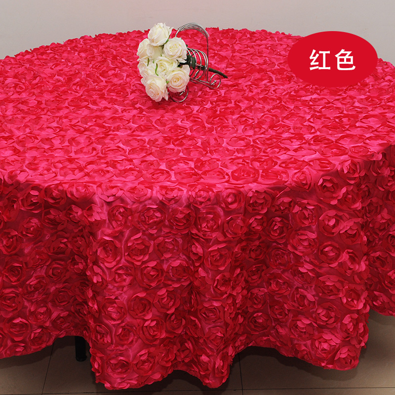Red Wedding 2.6 M Table Cloth Round Overlays 3D Rose Round Tablecloths  Wedding Decoration Supplier 7