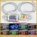 4 pçs/lote 2x131 MM + 2x146 MM Multi-Cor 5050 RGB LED Anjo Anel olhos Auréola RF controle remoto Para BMW E36 E38 E39 E46