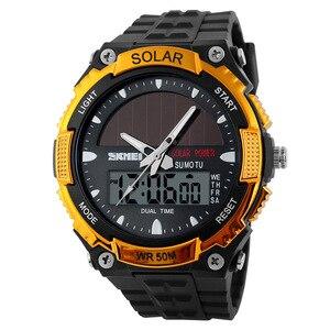 Image 2 - SKMEI SOLAR POWER Männer Sport Uhren LED Digital Quarz Uhr 5ATM Wasserdichte Outdoor Kleid Solar Uhren Militär Uhr Solar