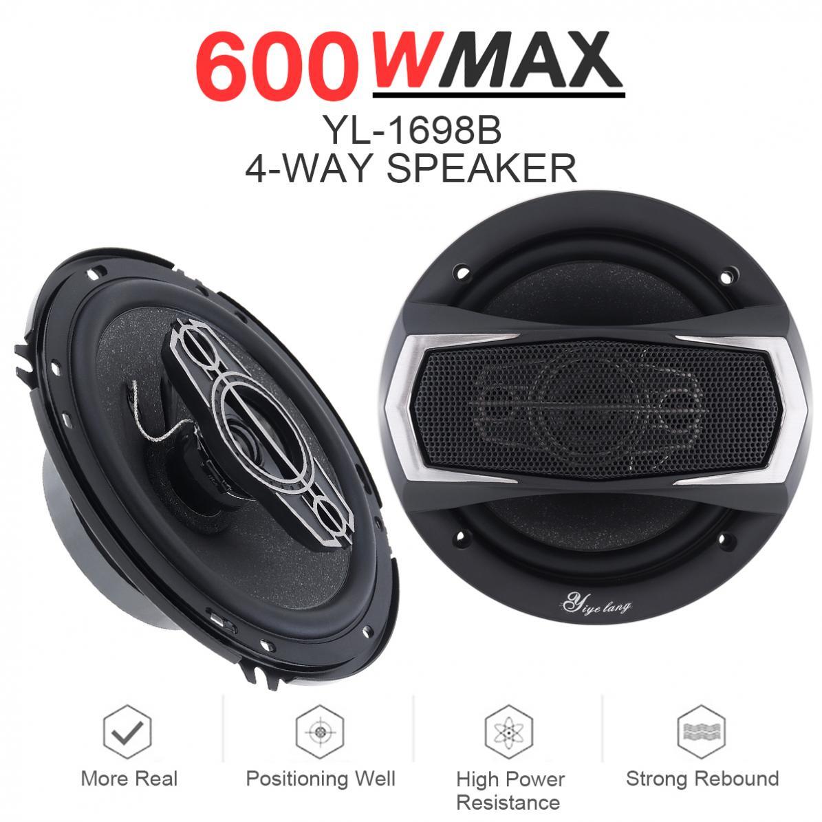 Pcs 6.5 Polegada 2 12V 600W 4 Way Coaxial Car Auto Música Estéreo Freqüência Gama Completa de Alto-falantes de Alta Fidelidade instalação não-destrutivo
