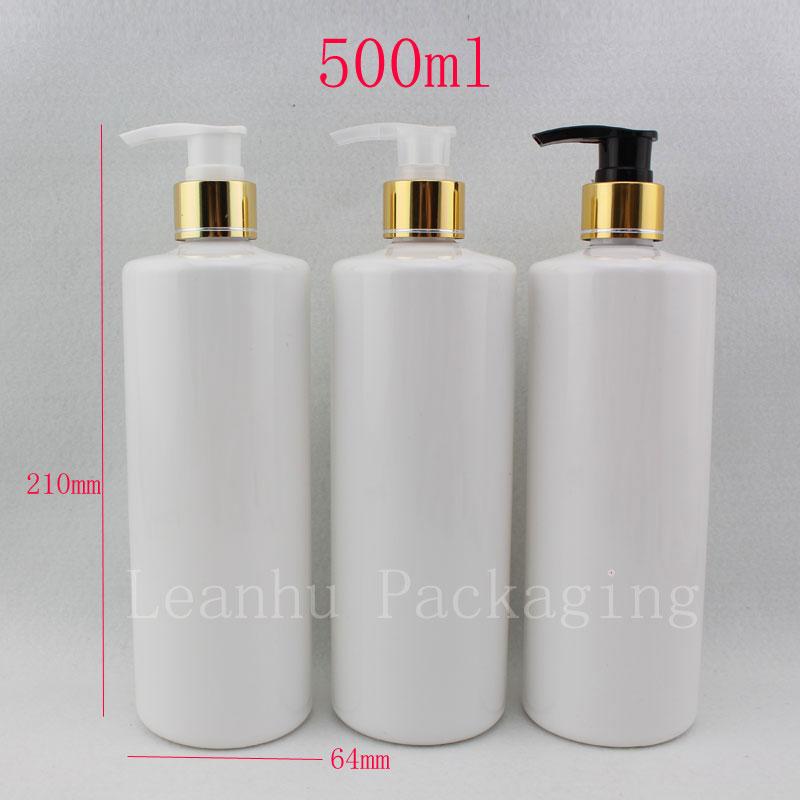 500ml X 12 빈 흰색 화장품 PET 알루미늄 로션 고급 병, 골드 로션 샴푸 펌프 병 화장품 포장 용기