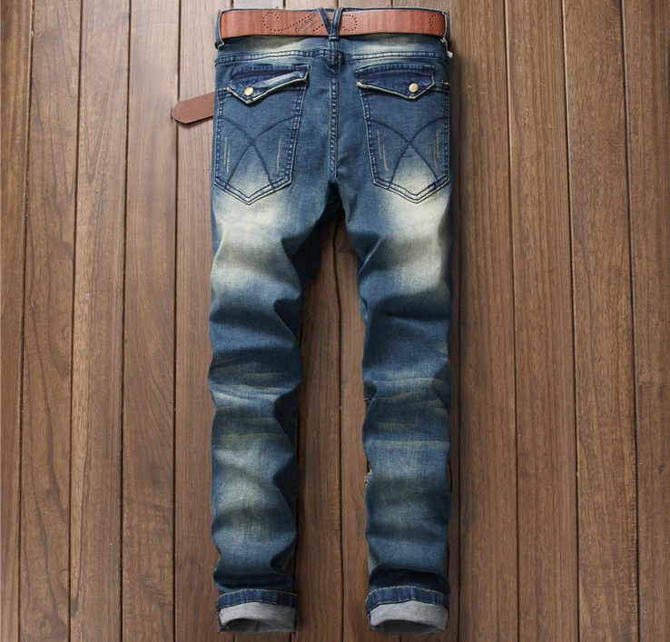 European American Style 2016 fashion brand men jeans pants luxury Mens denim trousers casual Slim blue zipper jeans for men 018