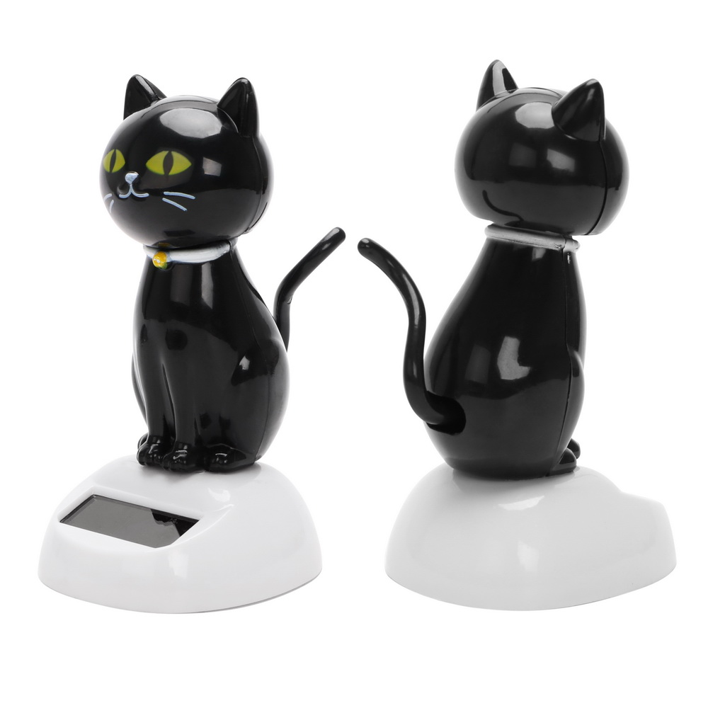 LEEPEE Car Ornaments Solar Powered Swinging Cat Cute Dashboard Decoration Interior Accessories Car-styling ABS