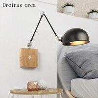 Nordic современный минималистский светодиодный настенный светильник гостиная спальня ночники творческий твердой древесины телескопическая