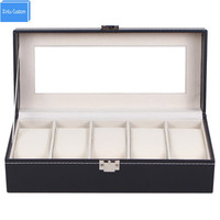 Black Leather 5 Grids Lucency Window Display Gift Box Watches Roll Jewelry Case Organizer Packaging Box Factory Boite Montre