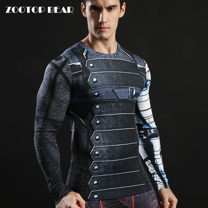 Winter Soldier Tshirts 3d Printed Long Sleeve Tops Men Compression Fitness Camiseta 2017 American Captain Tees 2017 ZOOTOP BEAR