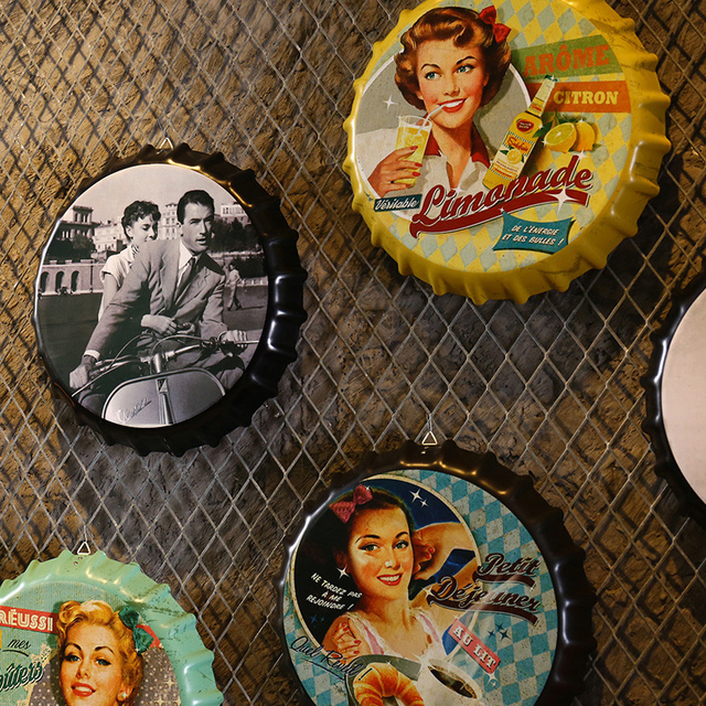 Creative Iron Beer Bottle Cap Artcrafts Retro Stickers Wall Hanging Decoration Vintage Bar Cafe Shop Home Decoration Accessories 2