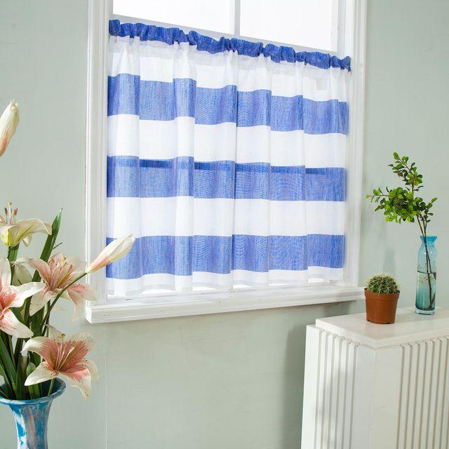 Large Stripes Gauze Window Curtain Rod Packet Top Kitchen Half 1pcs