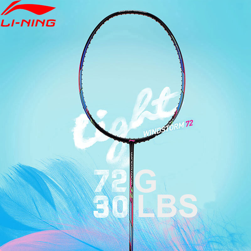 Li-Ning WINDSTORM 72 Badminton Racket Single Racket Light Professional Carbon Fiber LiNing Racket AYPM084/AYPM192/AYPM204 ZYF235