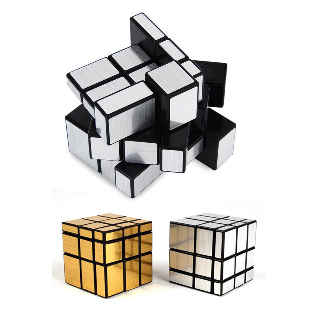 3x3 Magic Cube Block Mirror Speed Professional Puzzle Game Mirror Cube Magic Educational Toys For Children Silver/Golden