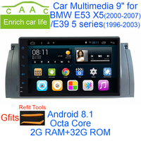 Newest Android 8.1 Octa Core 2G RAM 32G ROM GPS Navi 9 Inch Car DVD Multimedia for BMW E53 X5 00 07/E39 96 03 with RDS/Radio