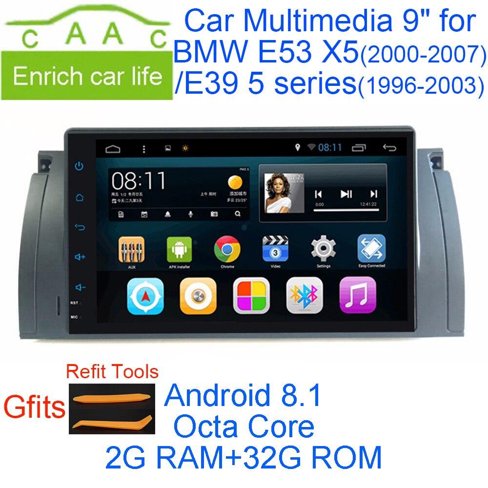 Plus récent Android 8.1 Octa Core 2g RAM 32g ROM GPS Navi 9 Pouces Voiture DVD Multimédia pour BMW E53 X5 00-07/E39 96-03 avec RDS/Radio