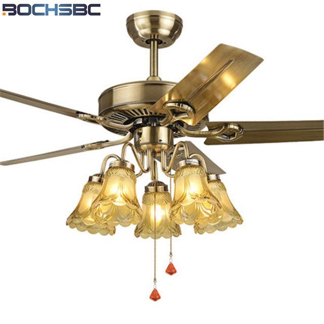 Bochsbc Restaurant Fan Light Wood Leaf Ceiling Living Room European Style Lamp With Iron
